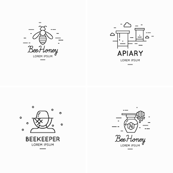 Modern linear logos for beekeepers illustration