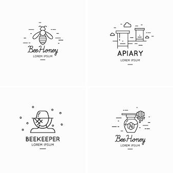 養蜂家のイラストのモダンな線形ロゴ