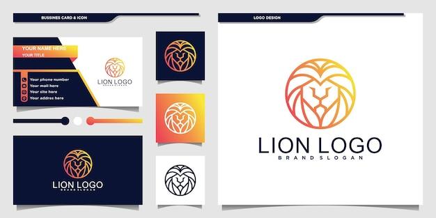 緑のグラデーションの色と名刺のデザインのプレミアムvektorとモダンなライオンの頭のロゴ