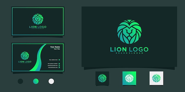 Modern lion head logo with green gradients colour and business card design premium vektor