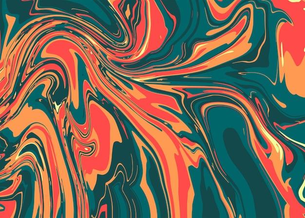 緑、オレンジ、赤のモダンな液体大理石またはエポキシ樹脂。カバーデザイン、ケース、包装紙、グリーティングカード用の大理石のスラブまたはスライスのテクスチャで抽象的な明るい背景。高級プリント。