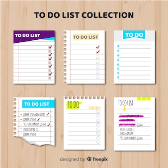 Modern to do list collection with colorful style