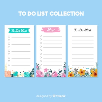 Modern to do list collection with floral style