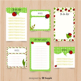 Modern to do list collection with ladybug