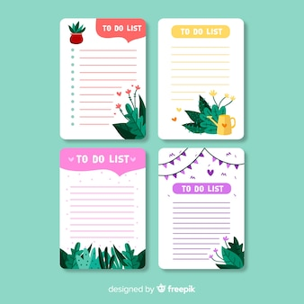 Modern to do list collection with leaves
