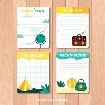 Modern to do list collection with travel elements