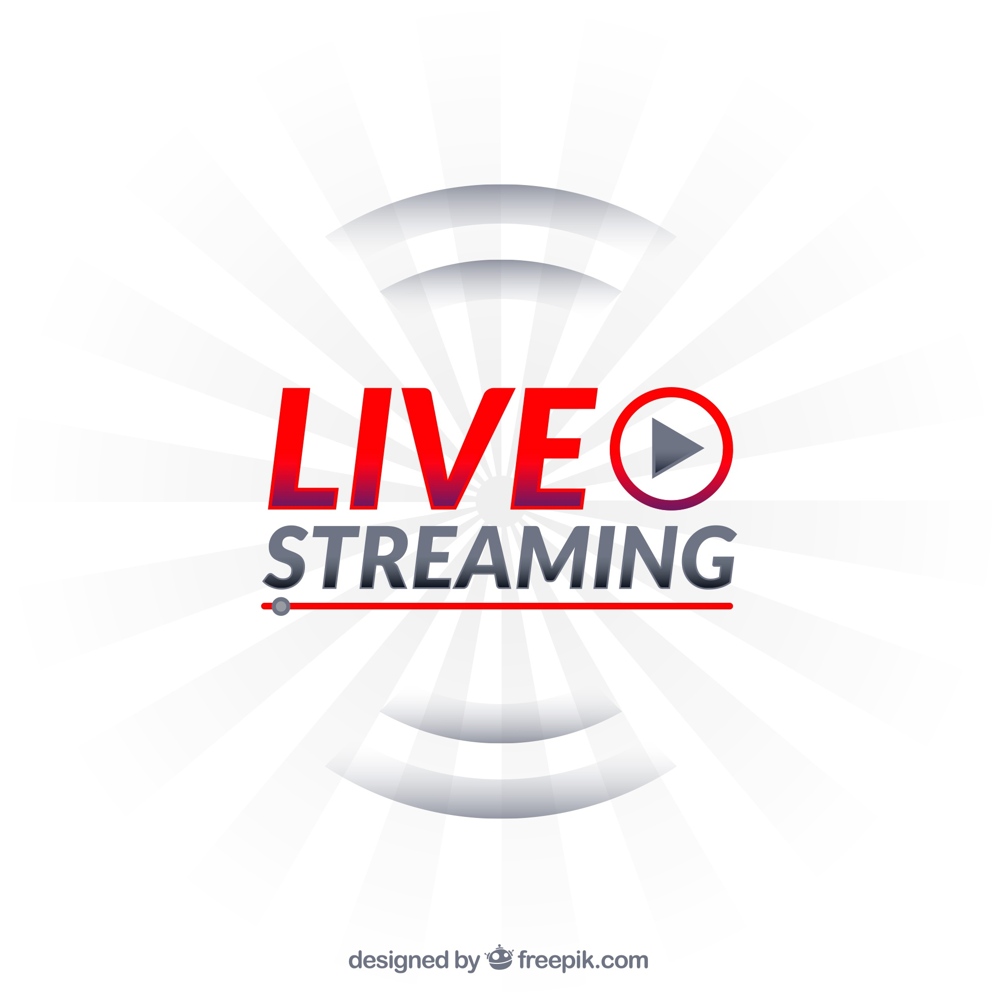 Modern live streaming icon with flat design