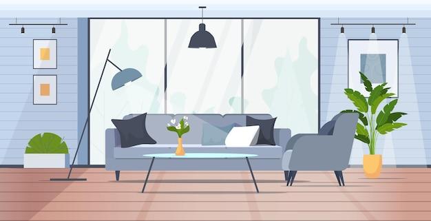 Современная гостиная комната интерьер пустой нет людей дом комната с мебелью горизонтальная векторная иллюстрация