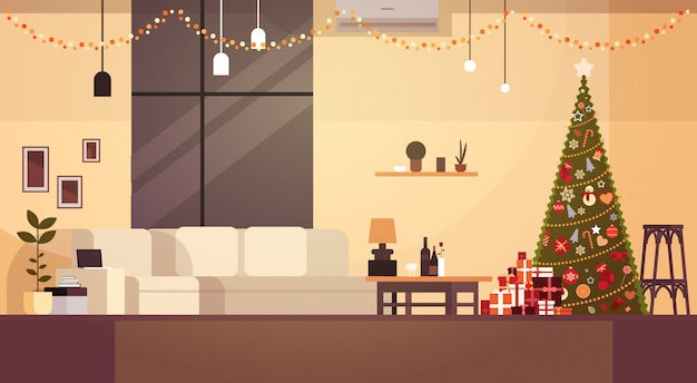 Modern living room decorated for christmas and new year with pine tree and garlands