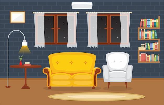 Modern living room family house interior furniture vector illustration