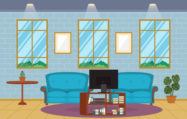 Modern living room family house interior furniture vector illustration