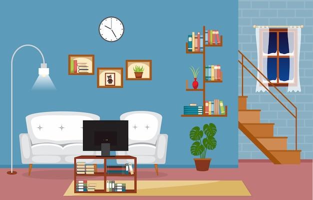 モダンなリビングルームファミリーハウスのインテリア家具のベクトルイラスト Premiumベクター
