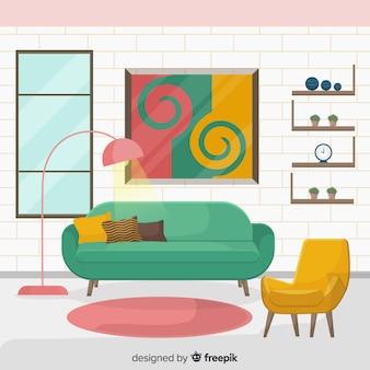 Modern living room interior design with flat design