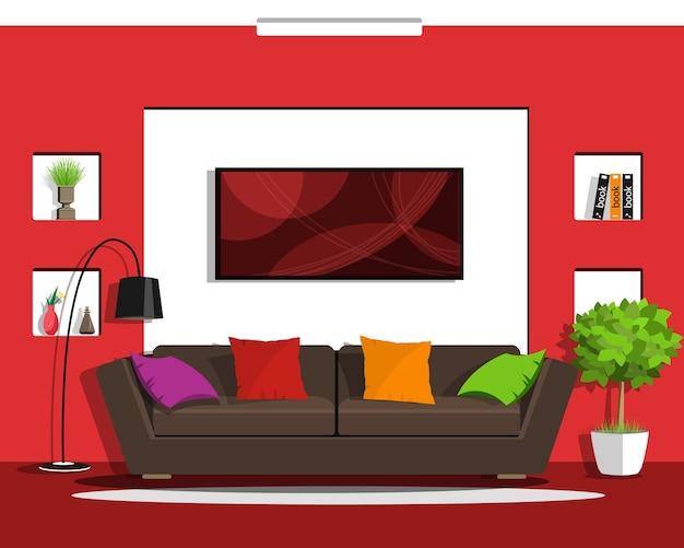 Modern living room interior design with furniture.