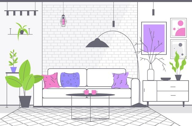 モダンなリビングルームのインテリア空の人なしアパート水平イラスト