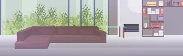 モダンなリビングルームのインテリア空人々の水平方向の家具付きのアパート