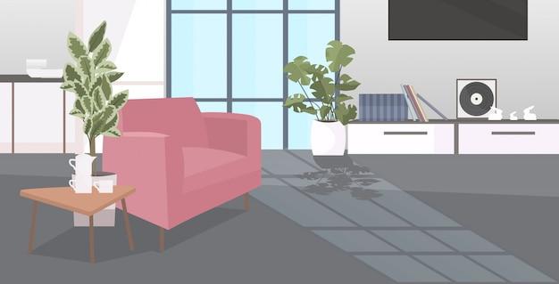 モダンなリビングルームのインテリア空人々水平家具付きアパート