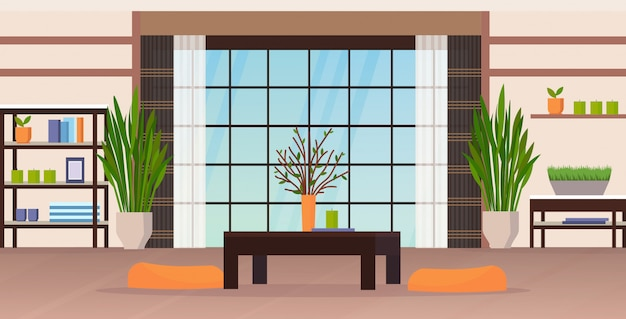 モダンなリビングルームのインテリア空の人々平らな水平方向の家のアパート