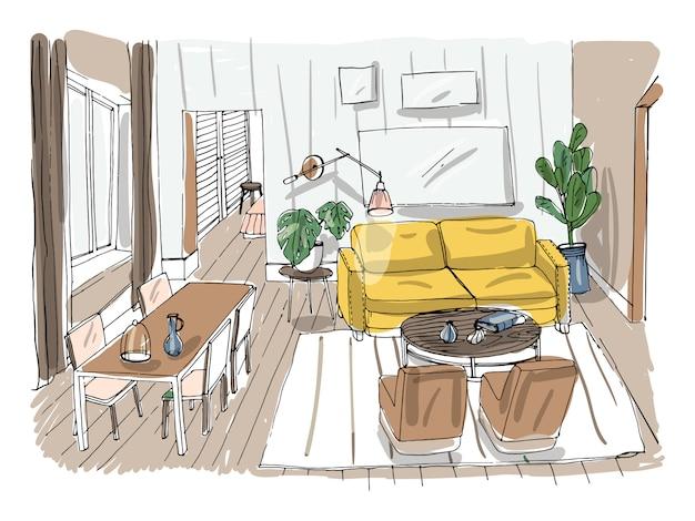 Modern living room interior. furnished drawing room. colorful   illustration sketch on light background.