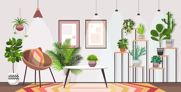 Modern living room interior home apartment with houseplants horizontal