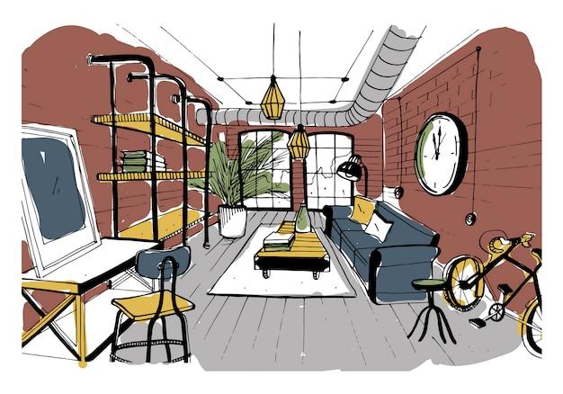ロフトスタイルのモダンなリビングルームのインテリア。手描きのカラフルな私