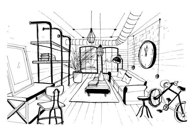 ロフトスタイルのモダンなリビングルームのインテリア。手描きのスケッチ図。