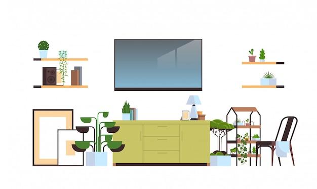 白い壁に分離されたモダンなリビングルームのインテリア、空の人なし、家具付きのアパート