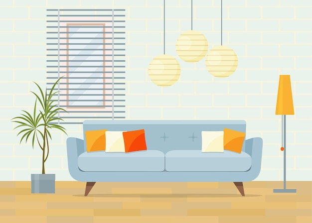 Modern living room interior. vector flat illustration