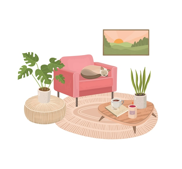 Modern living room interior with armchair and plants