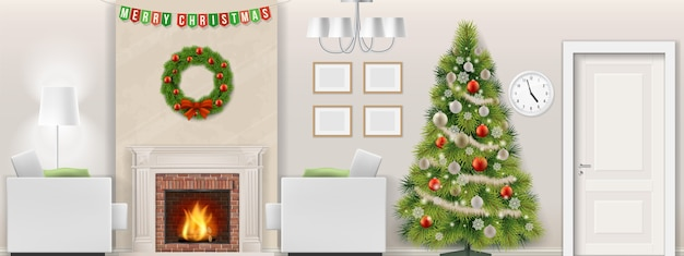 Modern living room interior with christmas tree, furniture and fireplace. vector illustration.