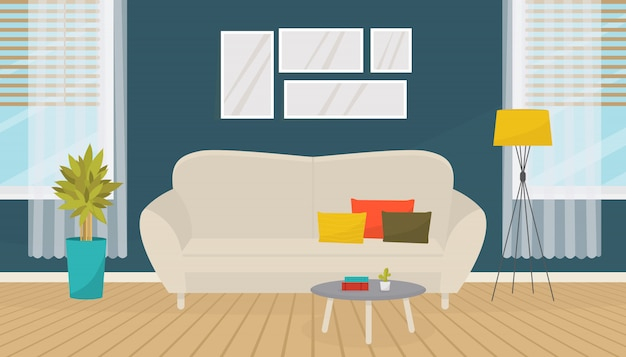 Modern living room interior with furniture. sofa, pictures on the wall, house plants, floor lamp. cozy apartment.  flat design.