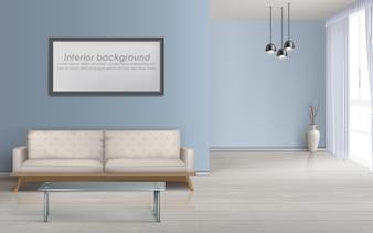 モダンなリビングルームのミニマルなデザイン広々としたインテリア現実的なベクトルモックアップ、ラミネート加工の床