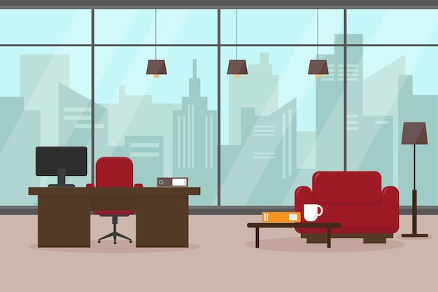 大きな窓と家具を備えたモダンなリビングルームまたはオフィス。近代的な大都市の職場。
