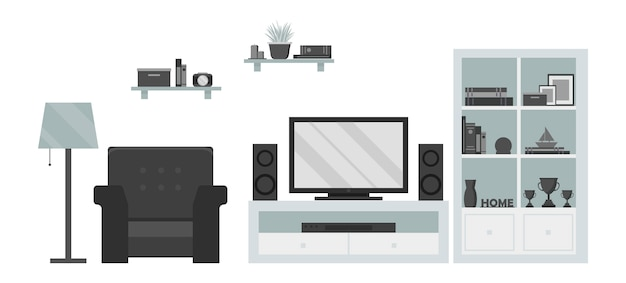 Modern living room tv zone: armchair, shelf, lamp, tv, dvd and sound system
