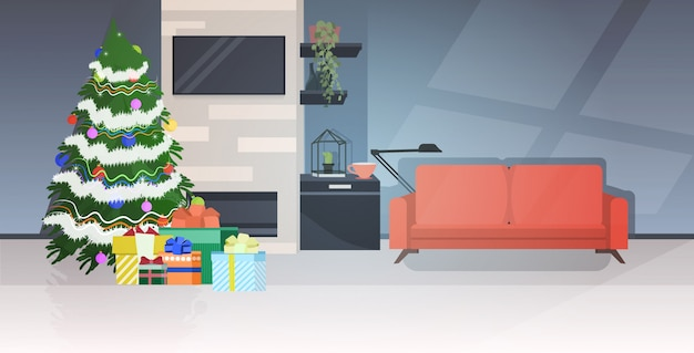 Modern living room with fir tree decorated for christmas holidays celebration