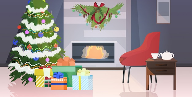 Modern living room with fireplace and fir tree decorated for christmas holidays celebration