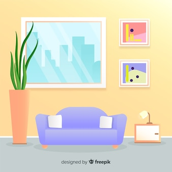 Modern living room with flat design