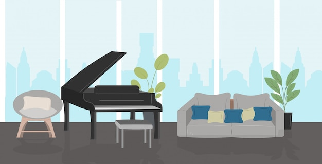 モダンなリビングルーム家具と黒のグランドピアノホームインテリア水平