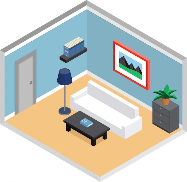 Modern living room  with furniture and door. interior in isometric style.  d illustration.