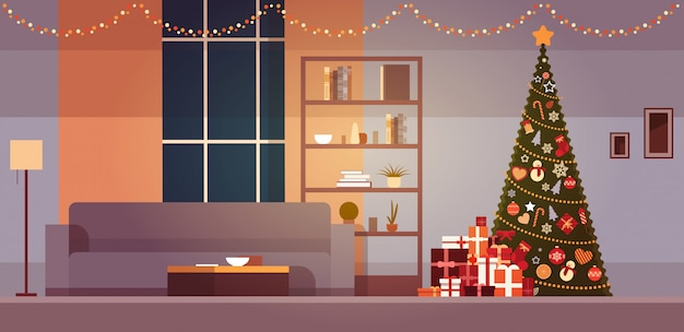 Modern living room with winter holidays decorations christmas tree and garlands home interior