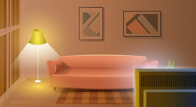 Modern living room with working tv cartoon vector