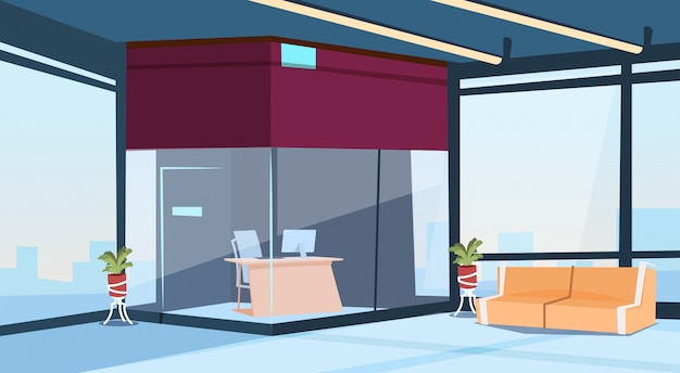 Modern lobby office reception hall building waiting room interior