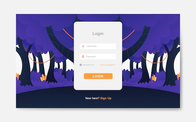 Modern login page with forest background