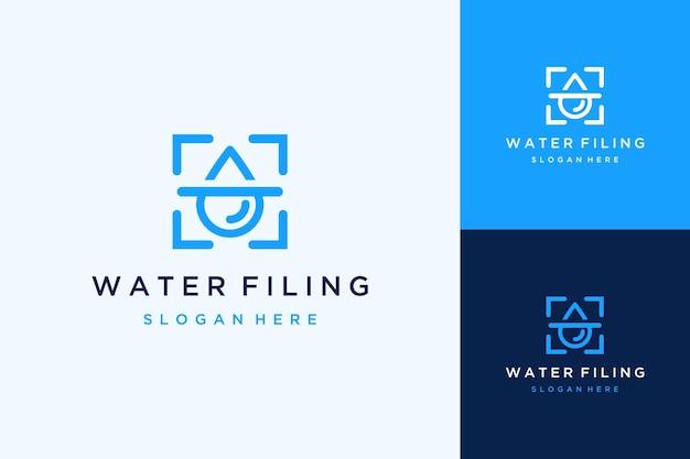 상자가 있는 물 또는 물방울을 필터링하는 현대적인 로고 디자인