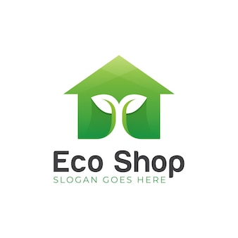 植物の木と家のアイコンのイラストとエコショップ有機シンボルのモダンなロゴデザイン