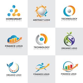 현대 로고 디자인 템플릿 세트