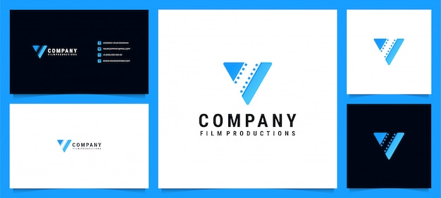 Modern logo for film productions and letter v with business card