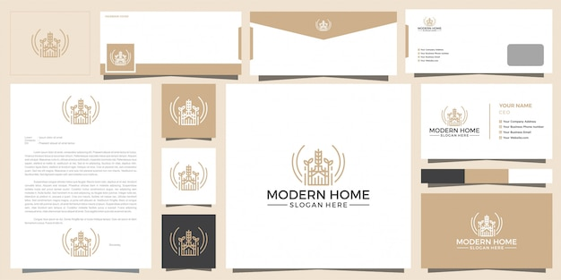 Modern logo of home for construction, home, real estate, building, property. minimal awesome trendy professional logo design template and business card design.