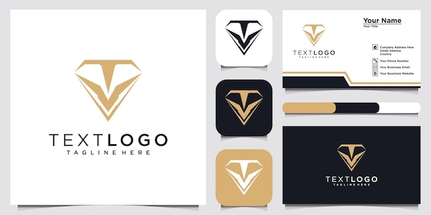 Modern logo of a letter t with diamond and business card design