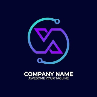 현대 로고 문자 x 기술 그라데이션 색상 스타일